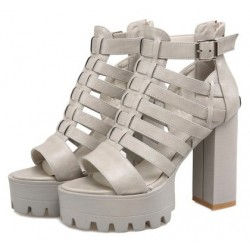Grey Strappy Block Chunky Sole High Heels Gladiator Platforms Sandals Shoes