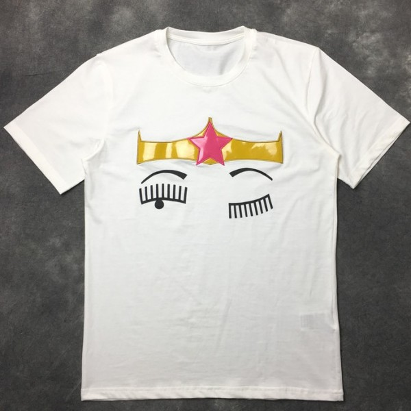 White Crown Blinking Eyes Round Neck Short Sleeves Funky Mens T-Shirt