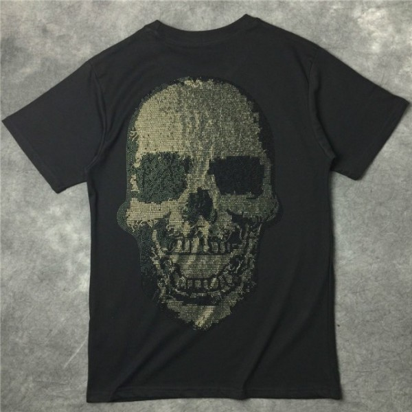 Black Skull Diamante Beads Round Neck Short Sleeves Funky Mens T-Shirt