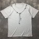 Grey Chain Necklace Print Swallow Round Neck Short Sleeves Funky Mens T-Shirt