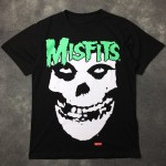 Black White Misfits Naughty Smile Face Round Neck Short Sleeves Funky Mens T-Shirt