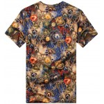 Brown Colorful Gemstones Diamond V Neck Short Sleeves Mens T-Shirt