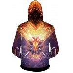 Purple Crown King Skull Long Sleeves Mens Jacket Winter Hooded Hoodies