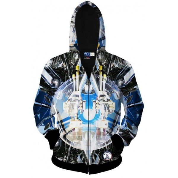 Black Blue Future Space Robot Long Sleeves Mens Jacket Winter Hooded Hoodies