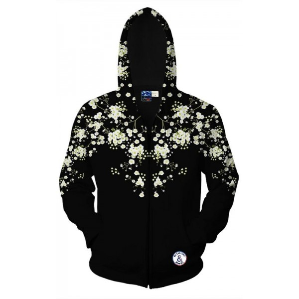 Black White Flower Floral Long Sleeves Mens Jacket Winter Hooded Hoodies