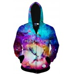 Blue Dreamer Galaxy Star Long Sleeves Mens Jacket Winter Hooded Hoodies