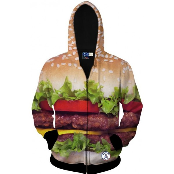 Brown Burger Patty Juicy Long Sleeves Mens Jacket Winter Hooded Hoodies