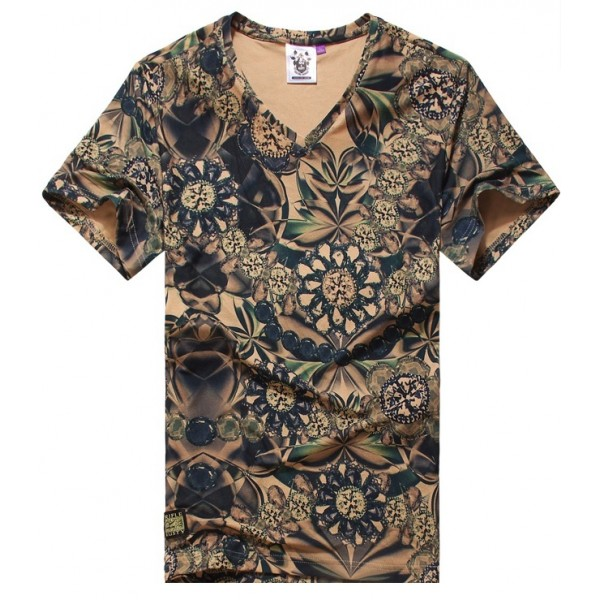 Brown Green Gemstones Diamond V Neck Short Sleeves Mens T-Shirt