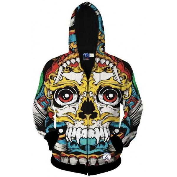 Colorful Maya Tribal Six Eyes Skulls Totem Long Sleeves Mens Jacket Winter Hooded Hoodies