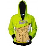 Green Six Pack Muscular Belly Long Sleeves Mens Jacket Winter Hooded Hoodies