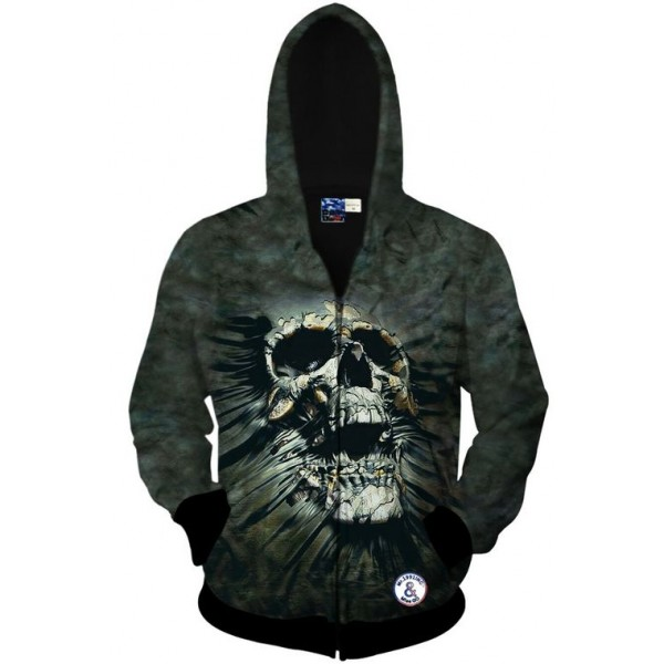 Grey Screaming Skull Long Sleeves Mens Jacket Winter Hooded Hoodies