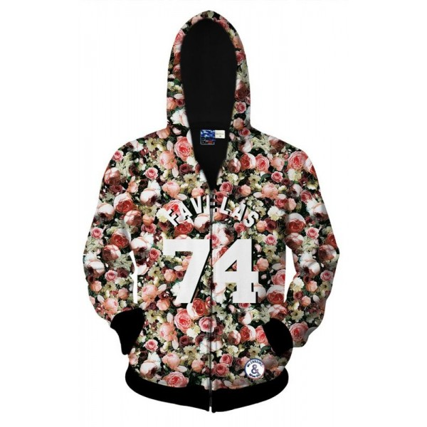Pink Roses Bud Flower Floral Long Sleeves Mens Jacket Winter Hooded Hoodies