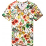 White Colorful Gemstones Roses V Neck Short Sleeves Mens T-Shirt