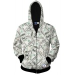 White One Hundred Dollar Buck Long Sleeves Mens Jacket Winter Hooded Hoodies