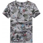 White Palm Leaves Tulip V Neck Short Sleeves Mens T-Shirt