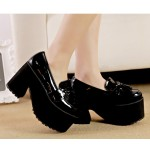 Black Patent Tassels Platforms Punk Rock Chunky Heels Sole Creepers Shoes