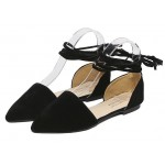 Black Suede Point Head Ankle Straps Ballerina Ballets Sandals Flats Shoes
