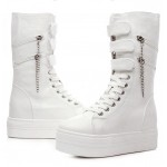 White Platforms Hidden Wedges Zippers Punk Rock High Top Sneakers Boots Shoes