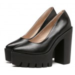 Black Point Head Chunky Cleated Platforms Sole Block High Heels Shoes