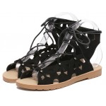 Black Vintage Hollow Out Lace Up Gladiator Roman High Top Sandals Flats Shoes