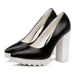 Black White Point Head Cleated Platforms Sole Block High Heels Shoes