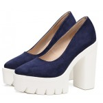 Blue Suede White Point Head Chunky Cleated Platforms Sole Block High Heels Shoes