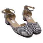 Black White Stripes Ankle Straps Sandals Shoes