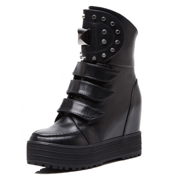 Black Metal Studs Platforms Hidden Wedges Punk Rock High Top Sneakers Boots Shoes