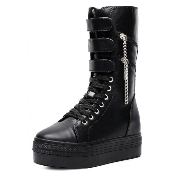 Black Platforms Hidden Wedges Zippers Punk Rock High Top Sneakers Boots Shoes