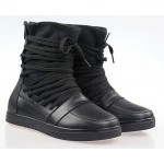 Black Platforms Lace Up Strappy Bandage Punk Rock High Top Sneakers Boots Shoes