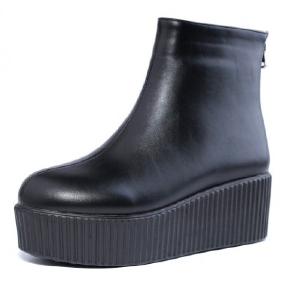Black Platforms Punk Rock Chunky Sole Boots Creepers Shoes