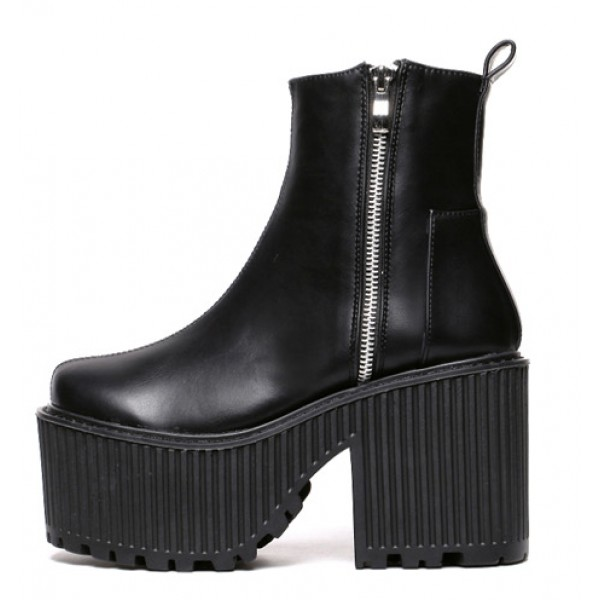 Black Side Zipper Platforms Punk Rock Chunky Cleated Sole Boots Creepers Shoes
