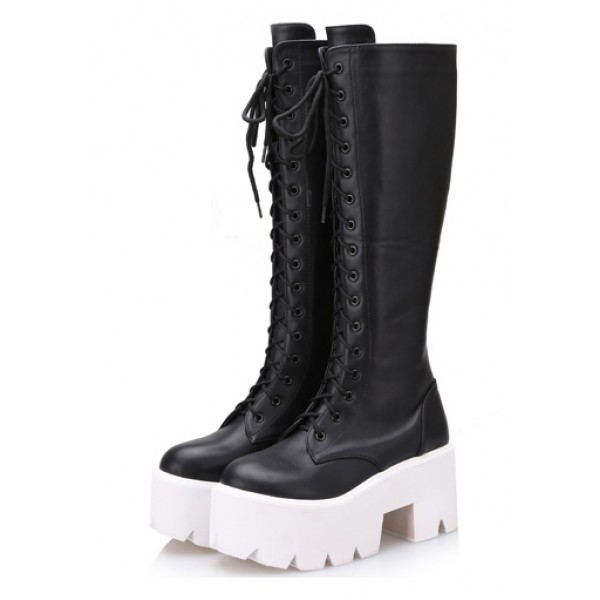 Black White Chunky Pleated Sole Block Heels Platforms Knee Lolita Boots Shoes