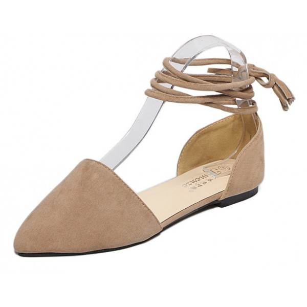 Khaki Suede Point Head Ankle Straps Ballerina Ballets Sandals Flats Shoes
