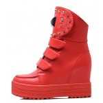 Red Metal Studs Platforms Hidden Wedges Punk Rock High Top Sneakers Boots Shoes