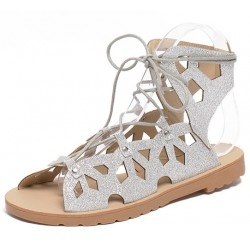 Silver Metallic Hollow Out Lace Up Gladiator Roman High Top Sandals Flats Shoes
