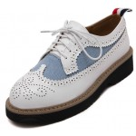 White Blue Demin Jeans Leather Baroque Lace Up Oxfords Platforms Shoes