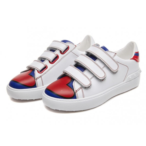 White Blue Red Heart Velcro Flats Sneakers Tennis Shoes