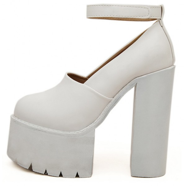 White Chunky Cleated Platforms Sole Block High Heels Shoes