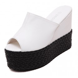 White Peeptoe Braided Straw Knitted Platforms Wedges Sandals Shoes