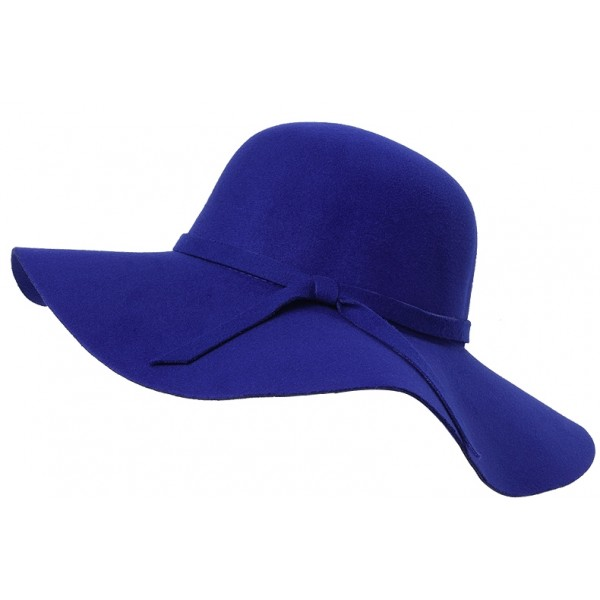 Blue Broad Wide Brim Woolen Lady Hat