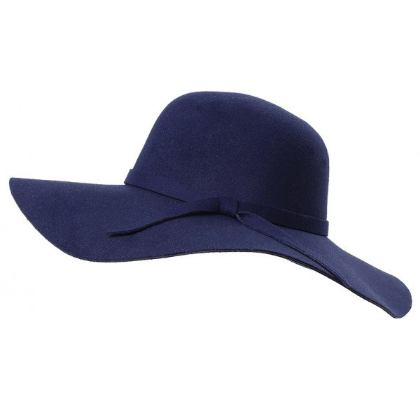 Blue Navy Broad Wide Brim Woolen Lady Hat
