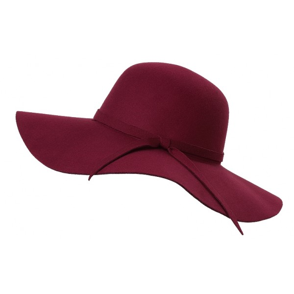 Burgundy Broad Wide Brim Woolen Lady Hat