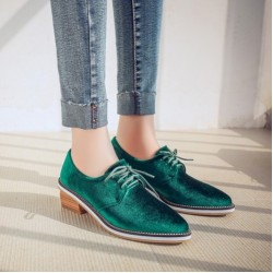 Green Velvet Gold Chain Point Head Lace Up Vintage Womens Oxfords Heels  Shoes