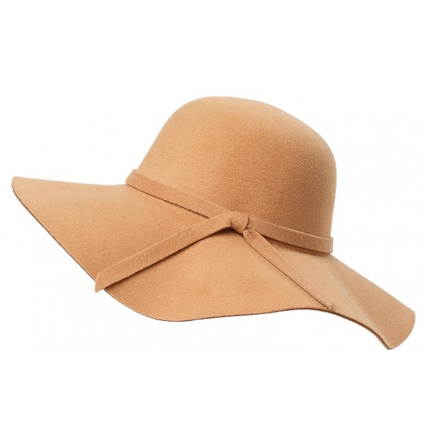 Khaki Broad Wide Brim Woolen Lady Hat