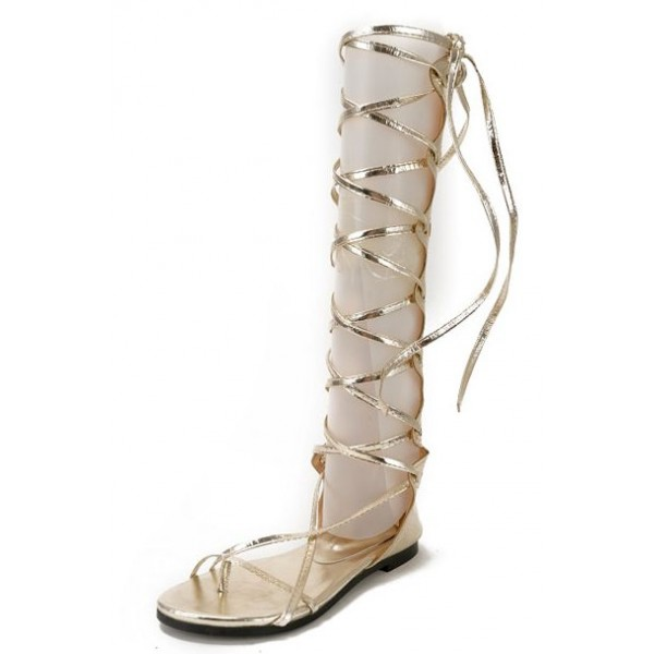Gold Metallic Strappy Straps High Top Boots Roman Gladiator Sandals