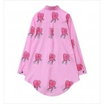 Pink Heart Cartoon Long Sleeves Chiffon Blouse Oversized Boy Friend Shirt