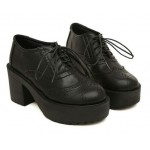 Black Old School Lace Up Oxfords Chunky Heels Creepers Shoes