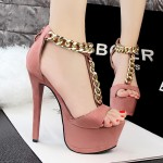 Pink Suede Metal Gold Chain Platforms T Strap Stiletto High Heels Sandals