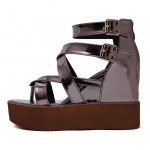 Grey Metallic Strappy Gladiator Platforms Wedges Sandals Shoes